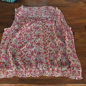 Women's Sheer Floral Tank Blouse Size XL
